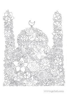 99 Creative Mosque Projects - Masjid Coloring Pages (in Arabic) Adult Coloring Pages, Coloring Books, Colouring, Mandala Art, Islamic Events, Ramadan Cards, Eid Crafts, Ramadan Activities, Eid Party