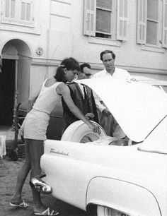 #AudreyHepburn with her husband #MelFerrer and their #Ford - #FordThunderbird by #EdwardQuinn circa 1956 - #SaintJeanCapFerrat - #FrenchRiviera