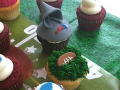Bill Belichick cupcake.  Need to learn how to do this by Super Bowl Sunday!