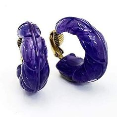 Avon Earrings FLORAL HOOP 1982 Purple Lucite Clip Ons  | eBay Small Earrings, Gold Drop Earrings, Feather Earrings, Teardrop Earrings, Clip On Earrings, Stud Earrings, Purple Earrings, Heart Jewelry, Jewelry Gifts