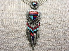 Southwestern Liquid Silver Heart Pendant Necklace by COBAYLEY, $65.00