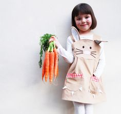 Easter outfit bunny rabbit girl costume dress- Ostern-Outfit-Hase-Kaninchen-Mädchen Kostüm Kleid A charming little girl bunny rabbit dress, handmade in the softest light blonde colored cotton cord, with lovely rabbits - Rabbit Costume, Bunny Costume, Costume Dress, Cactus Costume, Costume Halloween, Baby Kostüm, Baby Kind, Easter Outfit, Easter Dress