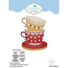 """Elizabeth Craft dies will give an added touch to any paper project and are compatible with most die-cutting machines. This package contains ten metal dies. Teacup size: 2.7"""" x 2.6"""""""