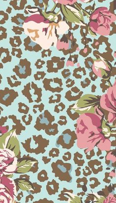 Blue pink Leopard print floral iphone phone background lock screen wallpaper