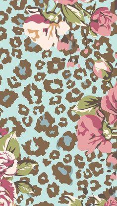 Blue pink Leopard print floral iphone phone background lock screen wallpaper