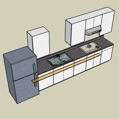 1 wall kitchen layouts when planning a one wall kitchen for Corridor kitchen layout