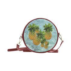 Pineapples Round Messenger Bag. FREE Shipping. #artsadd #bags #fruits