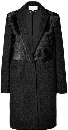 VANESSA BRUNO Wool Coat with  in Black - Lyst:
