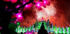 Fireworks light up the sky above ice structures on the first day of China's annual ice and snow festival in Harbin on January 5, 2011. (AFP/Getty Images)