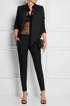 Saint Laurent | Wool-gabardine skinny pants | NET-A-PORTER.COM