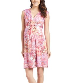 Loving this Coral & White Paisley Maternity Sleeveless Dress on #zulily! #zulilyfinds