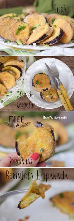 Berinjela empanada  e frita. Não há como resistir à casquinha crocante que envolve a berinjela macia por dentro. Gostosa como só ela! Bora aproveitar a melhor época do ano para … Veggie Recipes, Vegetarian Recipes, Healthy Recipes, Eggplant Recipes, Portuguese Recipes, Sweet And Spicy, Love Food, Food Porn, Food And Drink