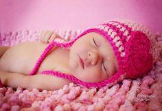 Newborn baby girl hat big heart . infant girl photography prop photo prop crochet knit girl beanie hat pink dark pink heart hat. via Etsy.