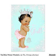 Teal Blue Winter Wonderland Baby Shower Card