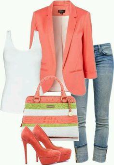 how to wear a peach blazer