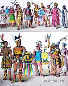 Costumes of Mexican Aztec 1500 AD. At the time of arrival of the Spaniards led by Hernán Cortés. Ancient Aztecs, Ancient Civilizations, Mexico Costume, Aztec Costume, Aztec Clothing, Mayan History, America Outfit, Mesoamerican, Inca