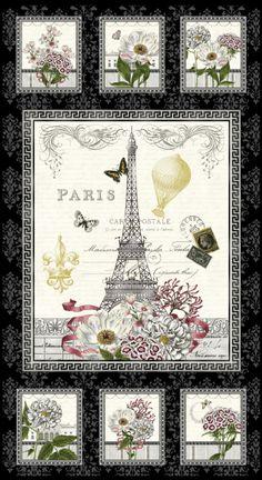 Bavlněná látka PANEL Paříž Salon Fleur, SE, metráž 100% bavlna