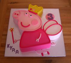 Fondant Covered Peppa Pig Shaped Cake In Her Favourite Fairy Princess Peppa Pig Birthday Cake, Birthday Fun, 2nd Birthday Parties, Princess Peppa Pig Party, Peppa Pig Party Ideas, Fairy Birthday Cake, Birthday Ideas, Tortas Peppa Pig, Fiestas Peppa Pig