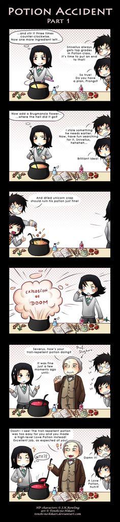 HP - Severus Snape, James Potter and Sirius Black. Chini - Potion accident -part 1- by Tenshi-no-Hikari