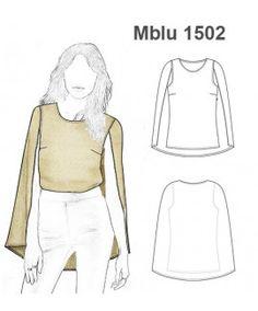 MOLDE: Mblu1502 Croquis Fashion, Fashion Sketches, Fashion Flats, Diy Fashion, Fashion Design, Sewing Clothes, Diy Clothes, Fashion Illustration Dresses, Shirt Blouses