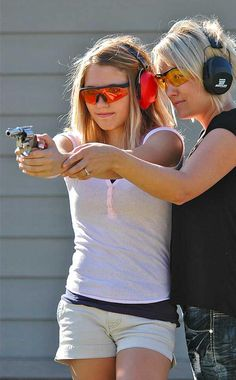 Teach your daughters and granddaughters to safely and correctly handle firearms. *my future daughter and me* Love Gun, Thing 1, Guns And Ammo, The Victim, Self Defense, Girls Be Like, Firearms, To My Daughter, Hand Guns