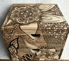 #Wood #burned #zentangle #doodle #beauty #box.Two door TimberleePyrography