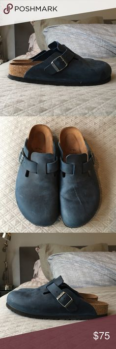 Birkenstock Boston Clogs Oil-rubbed leather. Navy color. Worn only twice. Pls notice scratch on left shoe - could probably be improved with leather cleaner. Birkenstock Shoes Mules & Clogs
