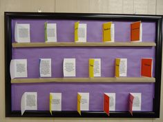 """Books of the Bible bulletin boards. Each """"book"""" opened up and had some fun facts about that book printed in it!"""