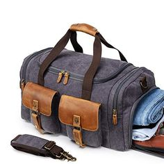 31f13deea Kemy's Canvas Duffle Bag Oversized Overnight Bags for Men Weekend Travel  Duffel Weekender Bags Canvas Leather Gym Traveling Airplanes Carry On  Luggage Shoes ...
