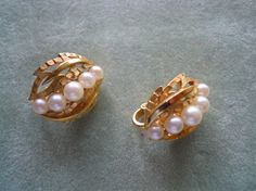 Crown Trifari Faux Pearl Leaf Earrings Gold by TallulahsVintage, $22.00
