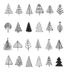 Christmas tree silhouette vector image on VectorStock Christmas Tree Sketch, Christmas Tree Silhouette, Christmas Tree Background, Christmas Doodles, Kids Christmas, Christmas Crafts, Christmas Trees, Christmas Ornaments, Xmas Cards