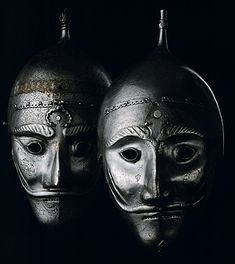 Sixteenth-century Persian War masks, the Kremlin Armory, Moscow, Russia.