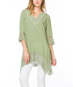 Loving this Sage Lace V-Neck Tunic on #zulily! #zulilyfinds