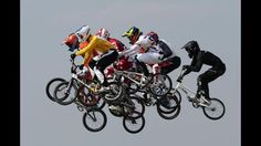 Sam Willoughby (2L) of Australia jumps with the field as they race in the Men's BMX Cycling Semi Finals on Day 14 of the London 2012 Olympic Games at the BMX Track on August 10, 2012 in London, England. (Photo by Clive Brunskill/Getty Images)