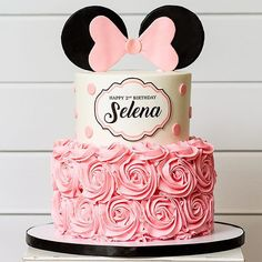 ▷ 1001 + ideas for the cutest Minnie Mouse cake for your little one happy birthday selena, two tier cake, white fondant, pink frosting, how to make a minnie mouse cake Minnie Mouse Cake Decorations, Minnie Mouse Cupcake Cake, Bolo Da Minnie Mouse, Minnie Mouse Birthday Cakes, Minnie Mouse Baby Shower, Minnie Mouse Party, Cake Disney, Friends Cake, Rosette Cake