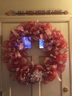 My Giant Deco Mesh Curly Q Christmas Peppermint Wreath