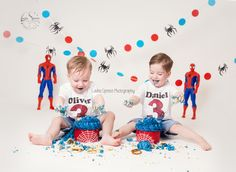 double trouble, twins cake smash aged 3 spiderman themed, this was so much fun.