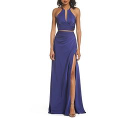 Women's La Femme Strappy Two-Piece Sheath Gown ($358) ❤ liked on Polyvore featuring dresses, gowns, dark periwinkle, two piece evening dresses, dark blue dress, blue two piece dress, la femme gowns and 2 piece gown