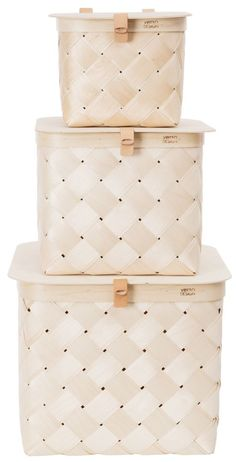 Lastu lid storage boxes from Finnish Verso Design Lid Storage, Small Storage, Storage Baskets, Storage Boxes With Lids, Bamboo Art, Bamboo Crafts, Wooden Basket, Bamboo Basket, Goods And Service Tax