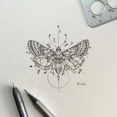 Dessin de papillon stylisé géométrique