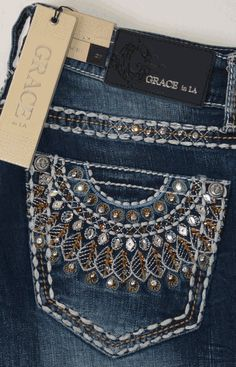 Grace in LA Rhinestone Embroidered Bootcut Jeans