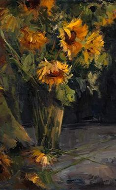 oil painting - wilting sunflowers