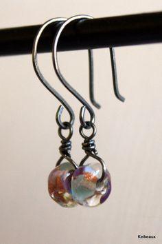 Handmade Lampwork Glass Earrings Oxidized Sterling by Keikeaux, $26.25