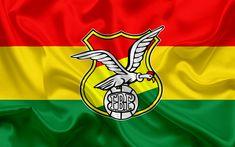 Download wallpapers Bolivia national football team, logo, emblem, flag of Bolivia, football association, World Championship, football, silk texture