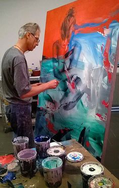 Contemporary Italian artist Pier Toffoletti (b. 1957) painting in his art studio #workspace #atelier. piertoffoletti.com