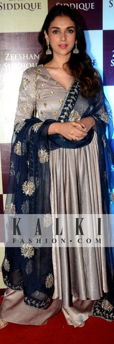 Aditi Rao Hydari: Mesmerizing everyone with her delicate looks, she was seen dressed in a grey palazzo suit with a royal blue dupatta