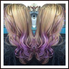 Beautiful Balayage lavender highlights on blonde hair.