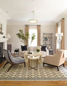 Eclectic, modern, and traditional...I just like the way it looks.  The chair on the left is unexpected and the rug brings a lot of graphic interest.