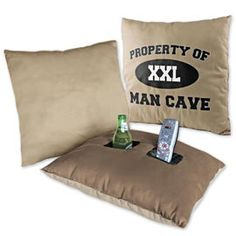 """Pocket Pillow, Pillow Beverage Holder, Man Cave Pillow...for every man ever. i might get these for nick when he decides to move in since he's already decided the basement will be his """"man cave"""""""