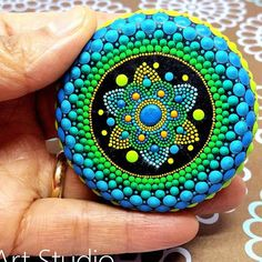 Mandala Hand Painted Stone This precious mandala stone was carefully crafted with much love and joy. This mandala stone have in it many hours of joyful work and chanting for the owner to feel the vibration of joy, happiness and worth of our beautiful Universe. Size: 6cm diameter = 2